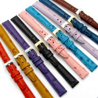 Ladies Genuine Leather Watch Strap Ostrich Grain 9 Colours 12mm 14mm Free Pins